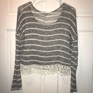 Striped long sleeve shirt with lace bottom